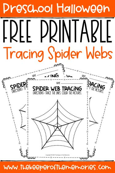 collage of tracing spider webs Halloween preschool worksheets with text: Preschool Halloween Free Printable Tracing Spider Webs
