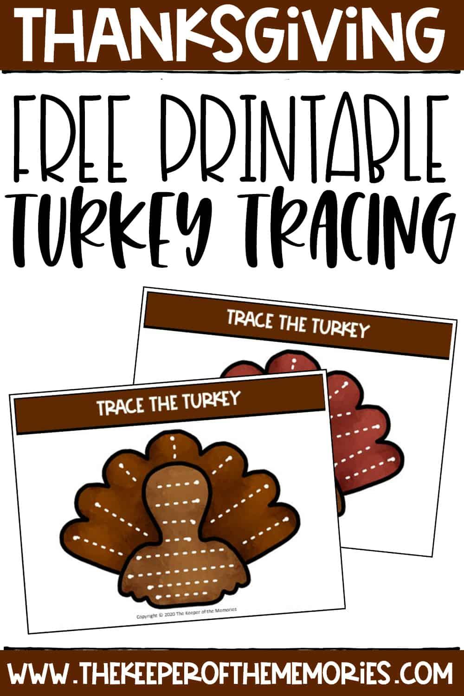 Free Printable Tracing Turkeys Thanksgiving Preschool Printables
