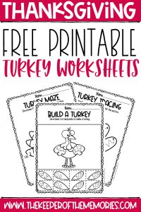 collage of turkey worksheets with text: Free Printable Turkey Worksheets