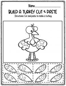 Free Thanksgiving Preschool Worksheets Build A Turkey Cut & Paste