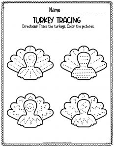 Free Thanksgiving Preschool Worksheets Turkey Tracing