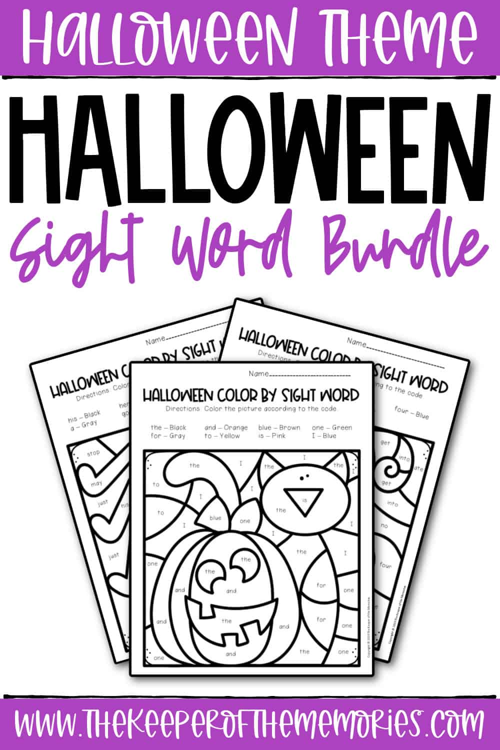 Color by Sight Word Halloween Worksheets Bundle