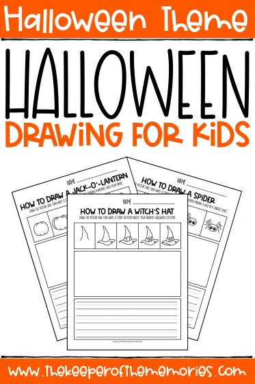collage of Halloween Drawing for Kids Worksheets with text: Halloween Theme Halloween Drawing for Kids