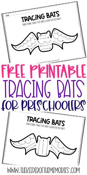 Tracing Bats Preschool Worksheets with text: Free Printable Tracing Bats for Preschoolers