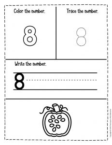 Counting Pumpkin Seeds Halloween Worksheets for Preschool 8