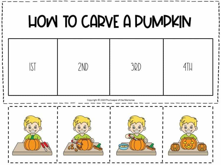 How to Carve a Pumpkin Sequencing Halloween Literacy Center for Preschoolers printable literacy center