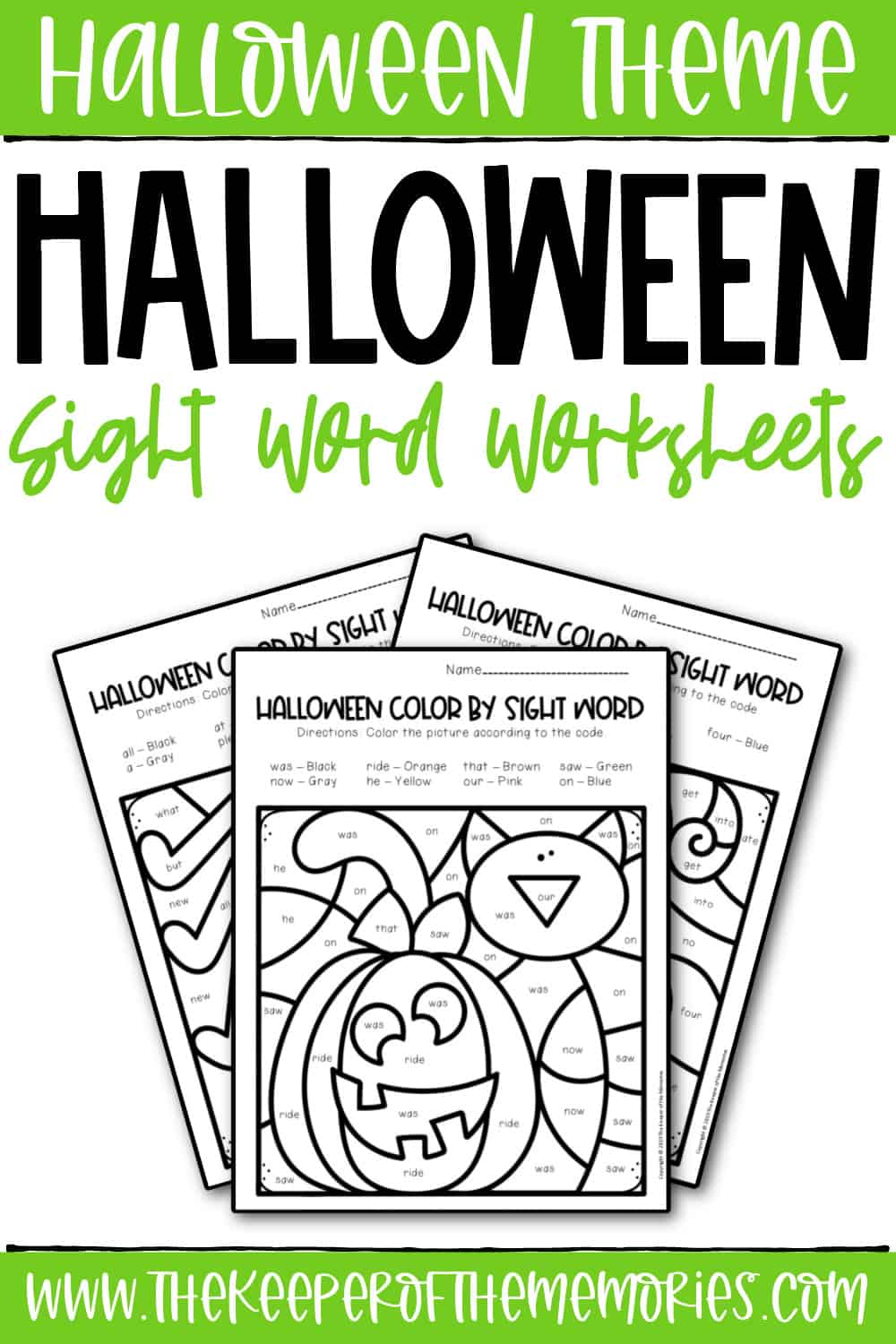 Color by Sight Word Halloween Worksheets for Kindergartners