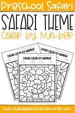 Color by Number Safari Preschool Worksheets