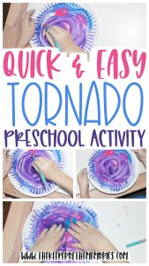 collage of tornado art with text: Quick & Easy Tornado Preschool Activity