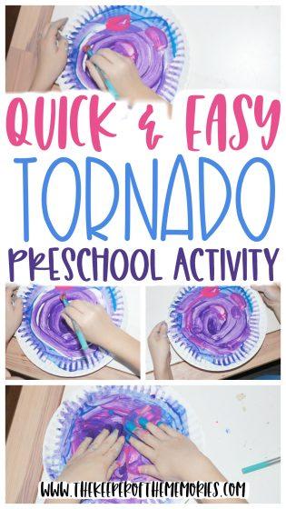 collage of tornado art with text: Quick & Easy Tornado Preschool Activity