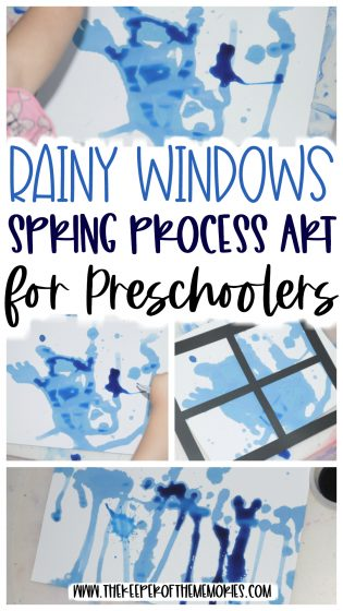 collage or spring process art with text: Rainy Windows Spring Process Art for Preschoolers