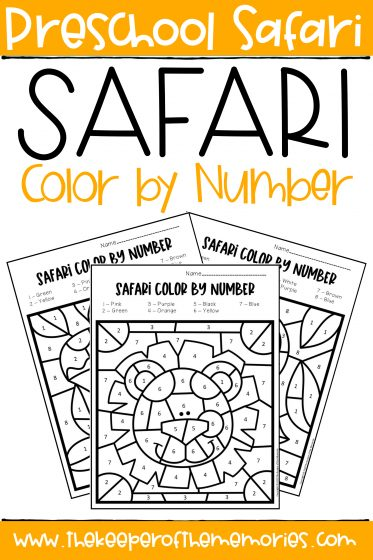 collage of Color by Number Safari Preschool Worksheets with text: Safari Theme Color by Number