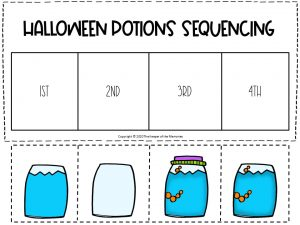 Sequencing Halloween Preschool Worksheets Blue and Orange