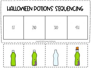 Sequencing Halloween Preschool Worksheets Green and Purple