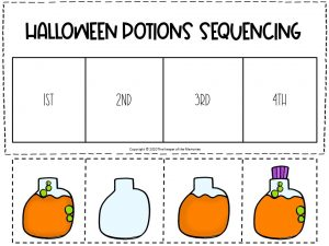 Sequencing Halloween Preschool Worksheets Orange and Green