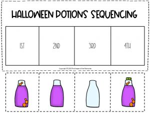 Sequencing Halloween Preschool Worksheets Purple and Orange