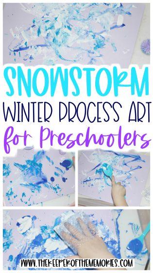 winter process art with text: Snowstorm Winter Process Art for Preschoolers