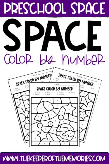 collage of Color by Number Space Preschool Worksheets with text: Preschool Space Space Color by Number