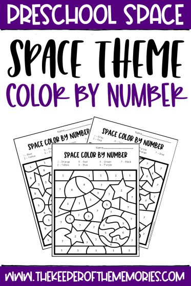 collage of Color by Number Space Preschool Worksheets with text: Preschool Space Space Theme Color by Number