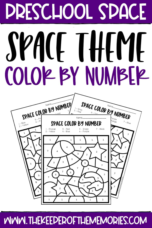 Color by Number Space Preschool Worksheets