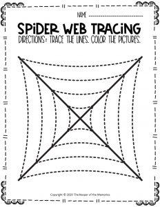Spider Webs Preschool Halloween Tracing Worksheets 4