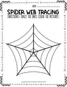 Spider Webs Preschool Halloween Tracing Worksheets 5