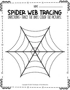 Spider Webs Preschool Halloween Tracing Worksheets 6