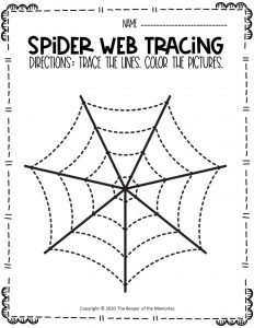 Spider Webs Preschool Halloween Tracing Worksheets 7