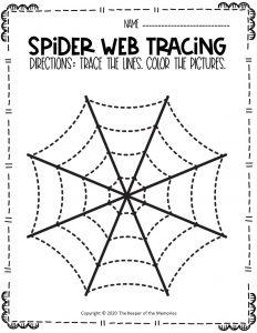 Spider Webs Preschool Halloween Tracing Worksheets 8