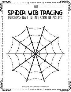Spider Webs Preschool Halloween Tracing Worksheets 10