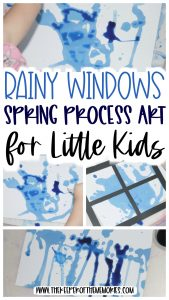 collage or spring process art with text: Rainy Windows Spring Process Art for Little Kids
