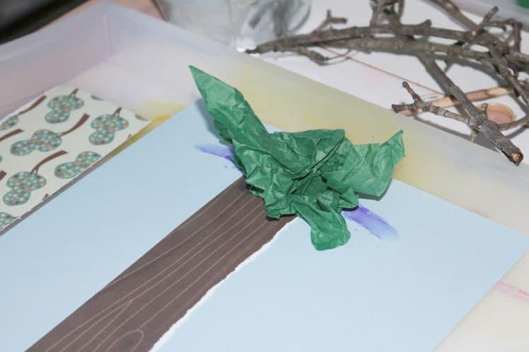 cherry tree process art made using paper