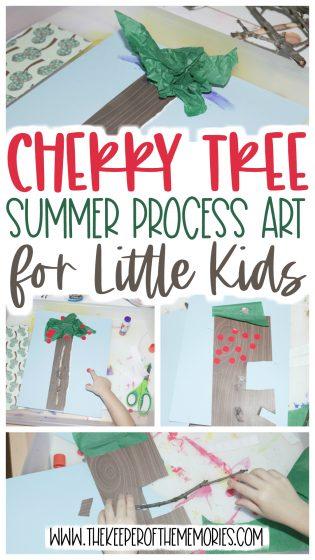 summer process art with text: Cherry Tree Summer Process Art for Little Kids
