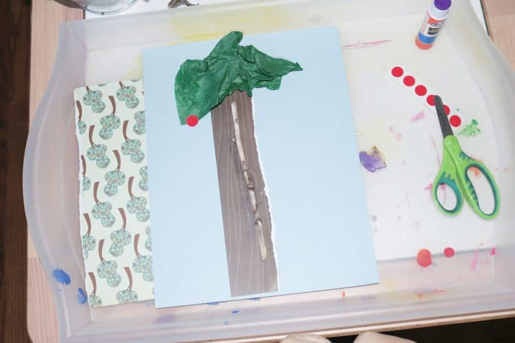 preschooler's cherry tress summer process art