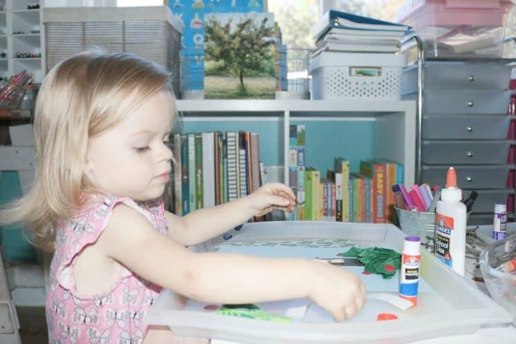 preschooler making cherry tree summer process art