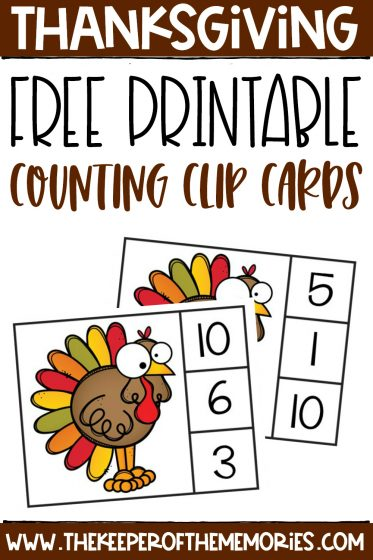 collage of Thanksgiving counting clip cards with text: Thanksgiving Free Printable Counting Clip Cards