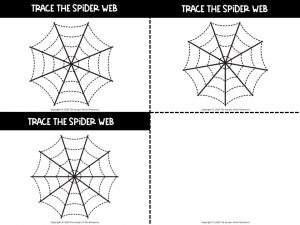 Tracing Spider Webs Pre-Writing Activity Cards