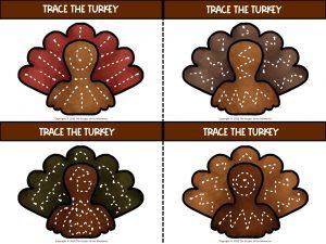 Tracing Turkeys Thanksgiving Preschool Printables 1