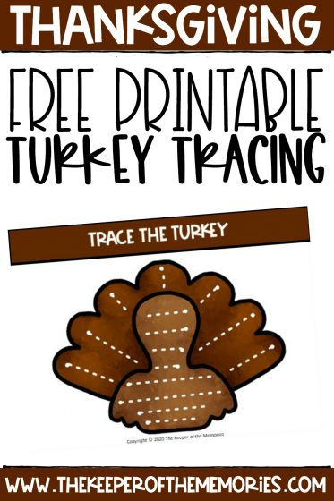 turkey tracing activity card with text: Thanksgiving Free Printable Turkey Tracing