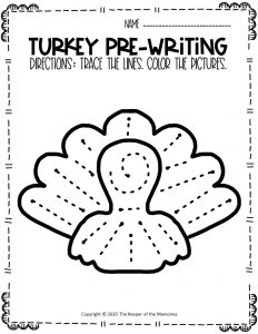 Turkey Pre-Writing Worksheets 1
