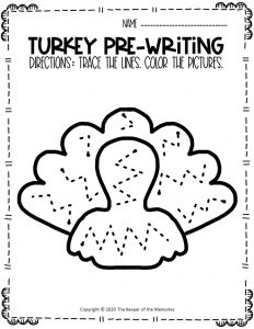 Turkey Pre-Writing Worksheets 2