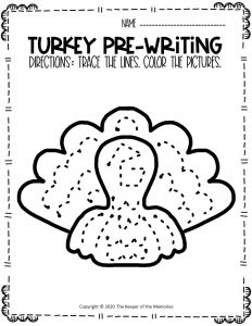 Turkey Pre-Writing Worksheets 3