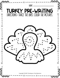 Turkey Pre-Writing Worksheets 4