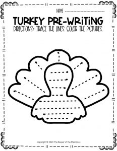 Turkey Pre-Writing Worksheets 5