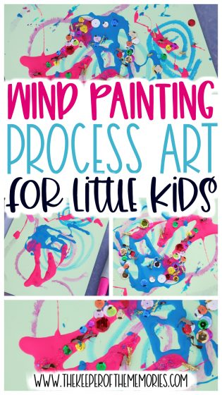 collage of Wind Painting for Kids with text: Wind Painting Process Art for Little Kids