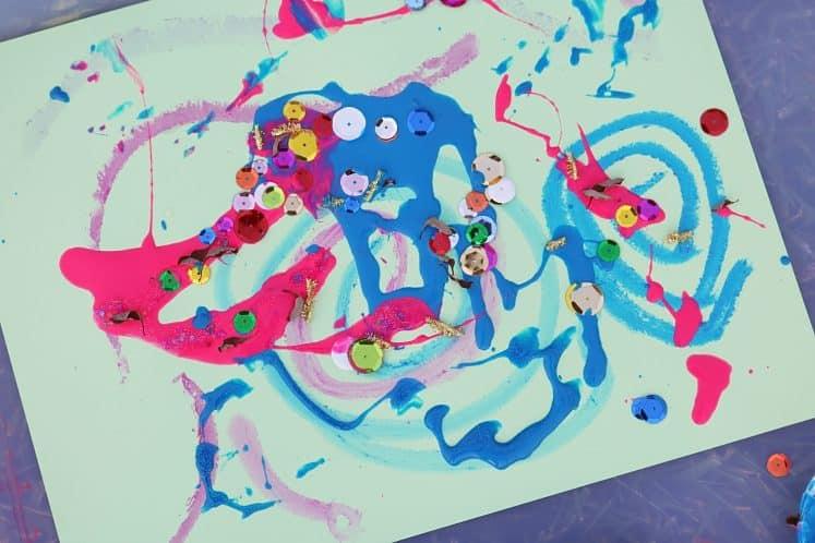 child's wind painting process art