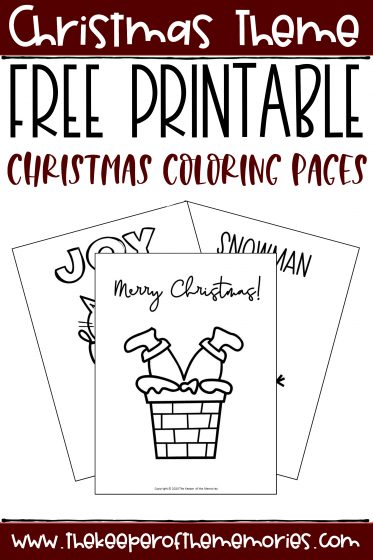collage of Christmas Coloring Pages with text: Christmas Theme Free Printable Christmas Coloring Pages