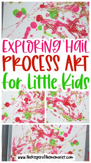 collage of hail process art images with text: Exploring Hail Process Art for Little Kids