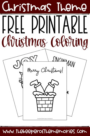collage of Christmas Coloring Pages with text: Christmas Theme Free Printable Christmas Coloring