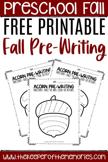 collage of tracing preschool worksheets with text: Fall Theme Free Printable Fall Pre-Writing